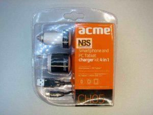 Блок питания  ACME CH05  4 in 1; 220v и 12v > 5v 1A + кабель USB micro+автоадаптер