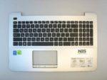 Клавиатура для ноутбука Asus X555+С корпус серебро RU/EN